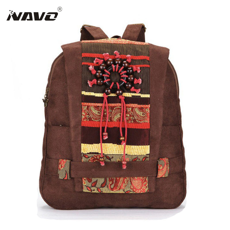 Women Ethnic Backpack 2016 Girls Bookbag Travel Rucksack School Bag for Teenager Vintage Suede Bagpack Mochila