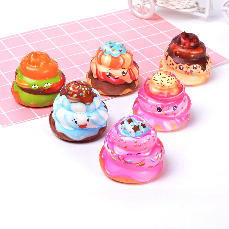 Kawaii Anti-stress Cute Squishy Kawaii Cream Cake Poo Slow Rising Scented Stress Relief Phone Strap Toys Poo Tooth Cream Toy