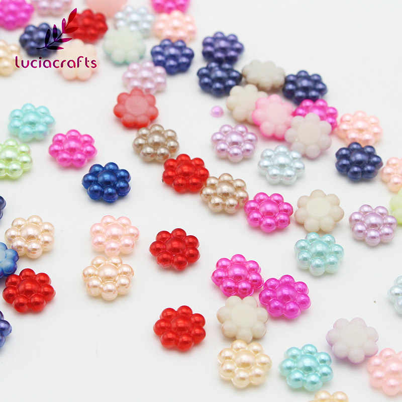 Lucia Crafts 10mm Mixed Colors Flower Shape Resin Pearls Flatback Beads DIY  Handcraft Art Accessory 50pcs fe39d6ccee37