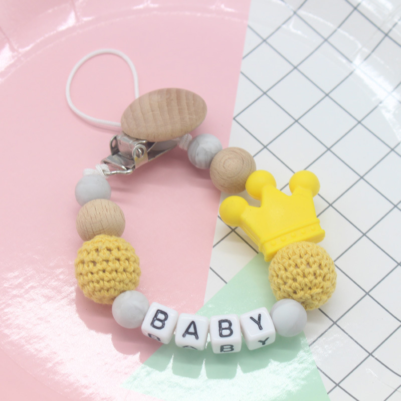 Personalized Name Pacifier Clip Letter Silicone Teething Wood Beads Clip Wooden Teething Toy Pacifier Chain Zawieszka Do Smoczka