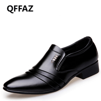 QFFAZ Brand Leather Fashion Men Business Dress Loafers Pointy Black Shoes Oxford Breathable Formal Wedding Shoes