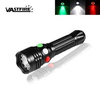 VastFire 3 colore della luce 300 LM Q5 LED Flash light Rosso/Verde/Bianco Torcia segnale di Strobe + 18650 battery + Charger