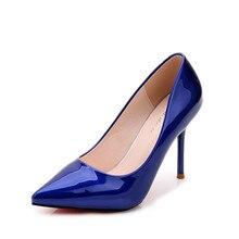 Frauen klassische lackleder blau rot weiß schwarz flach spitz rote sohle dünne high heels china schuhe frau pumpt 38