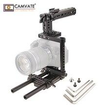 ФОТО camvate aluminum rod rig dslr cage top hand grip camera stabilizer tripod mount plate c1136