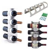 Metalen Wijnrek 3/4 Flessen Wandmontage Bar Wijnfles Houders Opbergrek Groothandel 1 Set