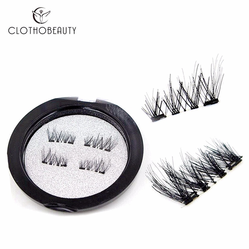 3D Magnetic Eyelashes Magnet Lashes 2 Magnets Reusable Half Cover False Eyelashes, No Glue Fake Lashes Extension 4 Pcs/set(CT)