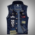 Top Fashion Vintage Men's Jeans Vest Sleeveless Jackets Brand New Mens Denim Vest Colete Masculino Large Size Vest Men Jean Vest