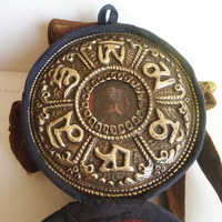 TGB222 Tibetan Prayer Box Ghau Amulet Locket Six Words Mantra OM MANI PAD ME HUM Big Round