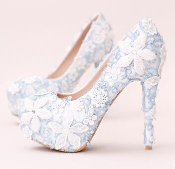 ФОТО 14/12/10CM super high sky blue lace platforms shoes for woman lace flowers pearls round toe ladies party pumps shoes TG708