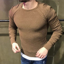 Hot Men Fashion Long Sleeves O-neck Ripped Sweater Cashmere Winter Wool Knit Jumper Autumn Winter Warm Pullover Sweater