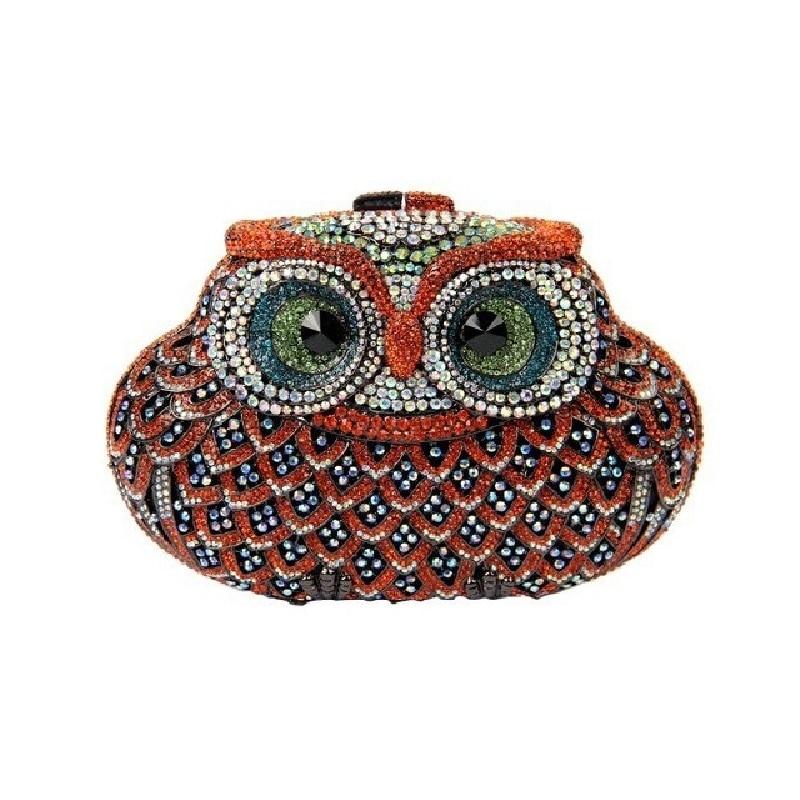 ФОТО 5018M Crystal Owl Bird Lady fashion Wedding Bridal hollow Metal Evening purse clutch bag box handbag case