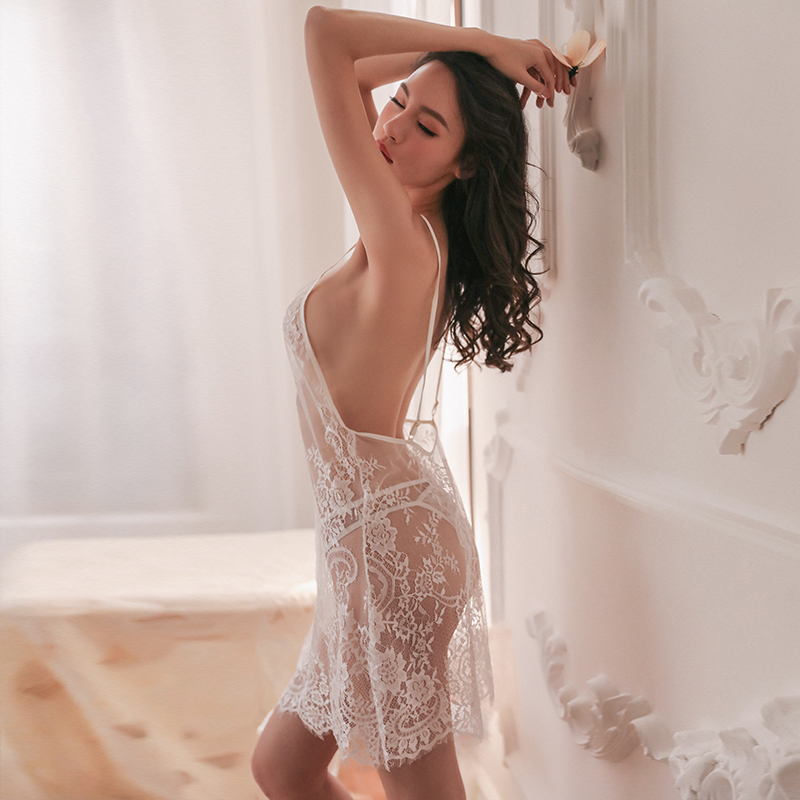 Yhotmeng sexy lace print backless pajamas women transparent underwear tulle straps deep V nightdress pajamas set in Robe Gown Sets from Underwear Sleepwears