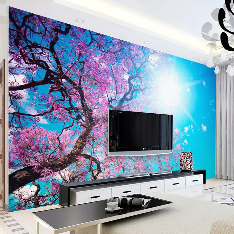 Custom 3D Photo Wallpaper Modern Hand Painted Abstract Tree Flowers Landscape Art Oil Painting Wall Mural Wallpaper Living Room