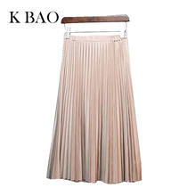 11 color 2016 autumn winter Fashion Retro pleated suede skirts high quality skirt casual style solid color skirts