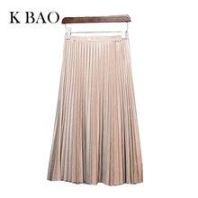 11 цвета 2016 осень зима Мода Ретро плиссированные замшевые юбки высокое качество юбка повседневный стиль сплошной цвет юбки