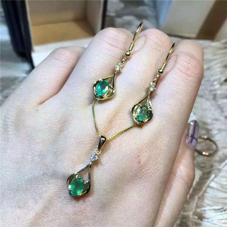KJJEAXCMY boutique bijoux 925 pur argent naturel émeraude collier incrustation bijoux femelle plaqué or pierre gemme goutte - 3