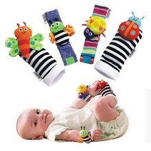 4PCS/LOT Baby Boys Girls Toy Baby Rattle Bees Wrist Foot Sock Newborn Baby Plush Sock chocalho do bebe brinquedos 0-6 Month(China)
