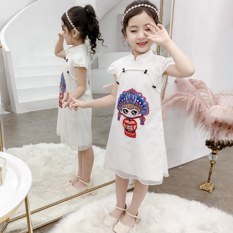 Girl qipao 2019 new childrens Chinese style dress hanfu tang girl super princess