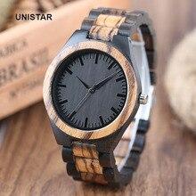 Unistar Роскошные модные античный черный циферблат природа деревянные часы кварцевые подарок на день отца Топ мужские часы Relojes де Мадера