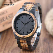 UNISTAR Luxury Fashion Antique Black Dial Nature Wooden Watches Quartz Father's Day Gift Top Men Watches Relojes de madera