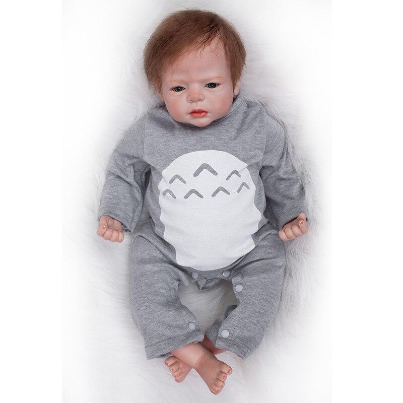 Nicery 20-22 polegada 50-55cm bebe reborn boneca macio silicone menino menina brinquedo bebê renascer boneca presente para criança cinza chapéu roupas