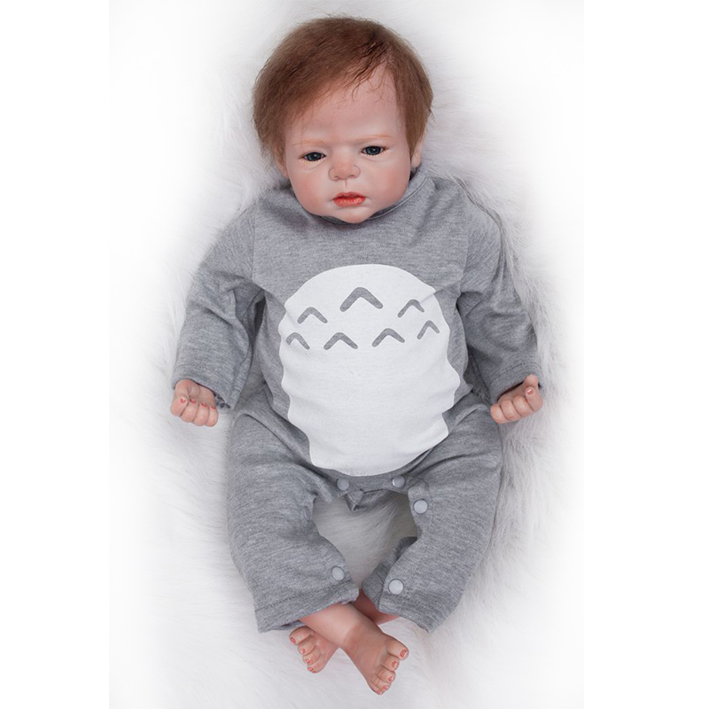 Nicery 20-22inch 50-55cm Bebe Reborn Doll Soft Silicone Boy Girl Toy Reborn Baby Doll Gift For Child Gray Hat Gray Clothes