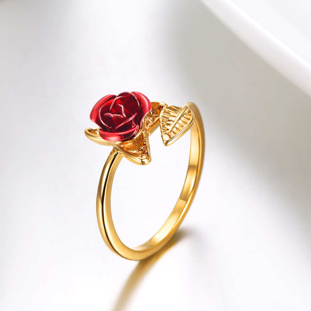 Новое поступление, красные розы, садовые листья, изменяемые золотые кольца на палец, подарок на день Святого Валентина, ювелирные изделия, Л...