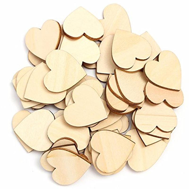 <font><b>50</b></font>/pcs 10mm 20mm 30mm 40mm Wooden Heart Kids Birthday Party Supplies DIY Scrapbook Craft <font><b>Wedding</b></font> Favors Decoration Valentine Day image