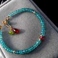 100% Natural Blue apatite Bracelet Charm jewelry Garnet Peridot Gemstone Bracelet Fashion gift for women gold color