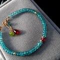 100% Natural apatita Azul Charm Bracelet jóias Garnet Peridot Gemstone Pulseira presente Da Moda para as mulheres da cor do ouro