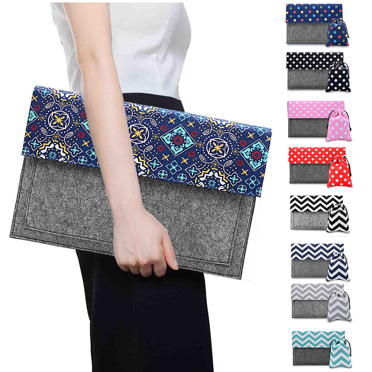 national style felt and canvas wave Laptop Sleeve Case for macbook air 11 colour retro dot laptop bag for 11 12 13 macbook