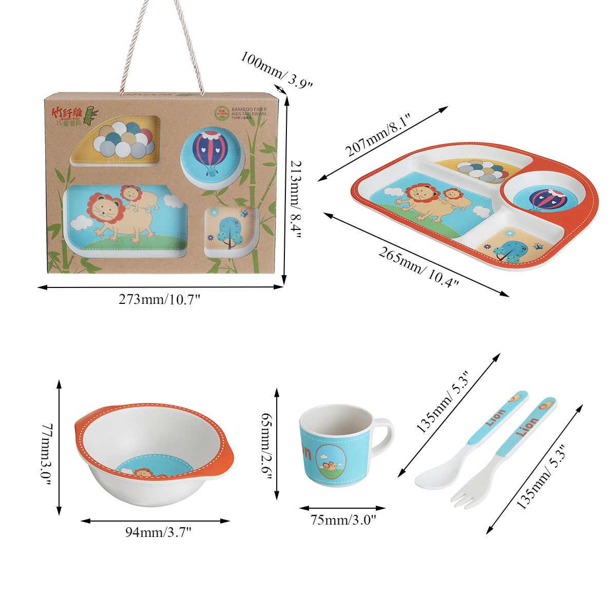 5 шт./компл. детская миска для питомца милый контейнер для еды из бамбукового волокна детская посуда для младенцев тарелка для малыша поднос для еды