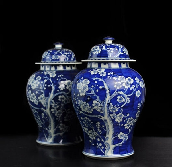 Qing Kangxi Antique Chinese Blue White Porcelain Ice Plum Ceramic Vase Ginger Jar
