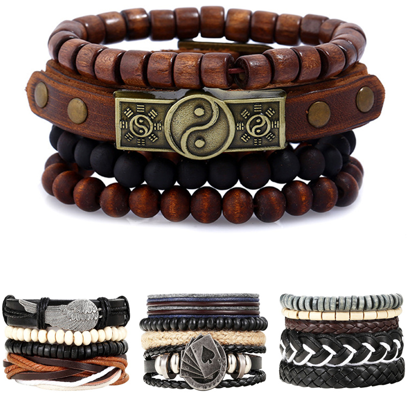 New Fashion accessories anchor Bead Leather Bracelets & bangles 4 pcs 1 Sets Multilayer Braided Wristband Bracelet Men pulseira bracelet