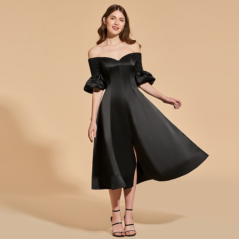 Tanpell off the shoulder   cocktail     dress   black short sleeves tea length a line gown women party formal customed   cocktail     dresses