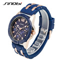 SINOBI Mens Watches Top Brand Luxury 2016 Rubber Band Blue Sport Watches for Men Fashion 3ATM Waterproof Relogio Masculino 5808