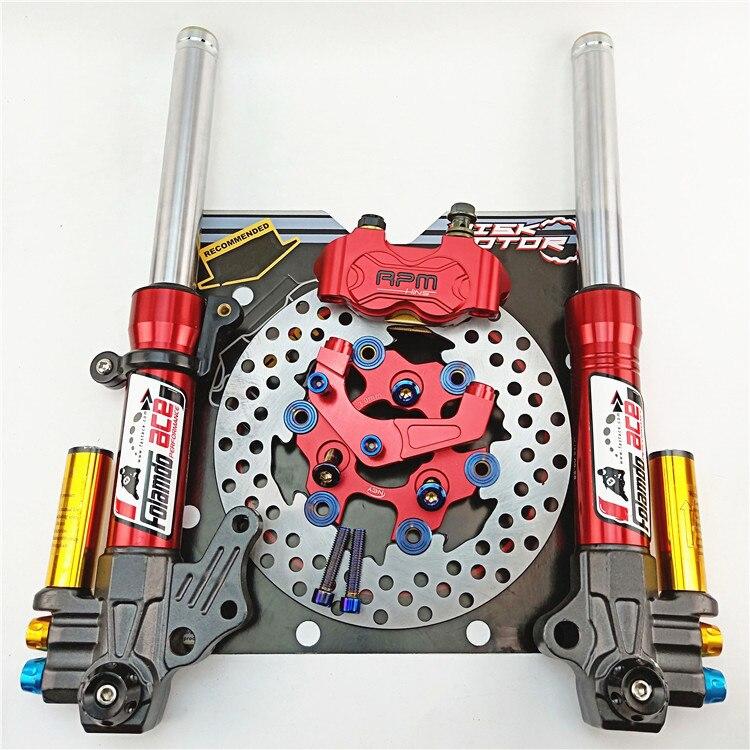 Moto avant amortisseurs fourche avant 27mm/370mm + pompe de frein + support + 200mm disque flottant pour Yamaha Scooter modifier