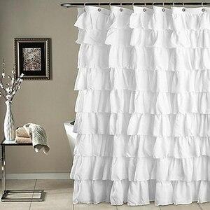 Gran oferta, cortina de ducha de borde corrugado a prueba de agua de color liso, cortina de baño con volantes, decoración