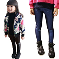 Baby PU Leather Double Plus Thick Pants Autumn Winter Toddler Velvet Pants Girls Legging 9M-3T Infant Warm Faux Leather Trousers