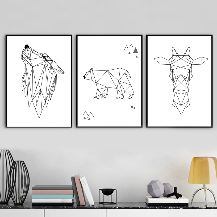 Us 3 3 50 Off Abstract Bear Giraffe Wolf Wall Art Canvas Painting Nordic Posters And Prints Black White Wall Pictures For Living Room Decor In