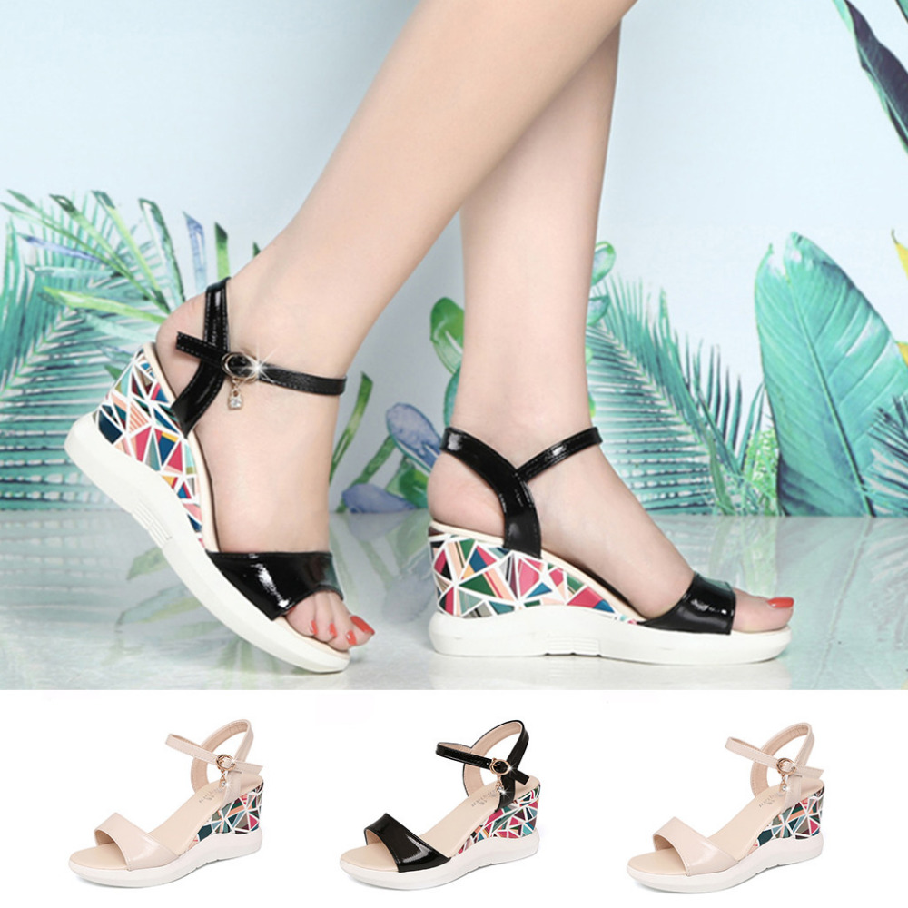 Platform Sandals High-Heels Women Buckle Slope Moking-Top -D