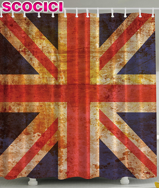 Patriotic bathroom decor - England Britain British Flag Patriot English Queen Grunge Made By Digital Printer Modern Home Bathroom Decoration Ideas Decorati