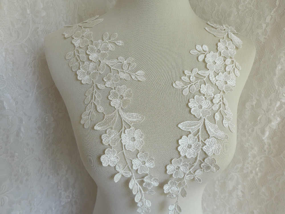 Allure bridals ivory silver satin and lace applique
