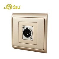 N86 902 619MH Gold XLR Male Headphone Microphone Cannon Panel Socket Wall Insert Panel Free Shipping