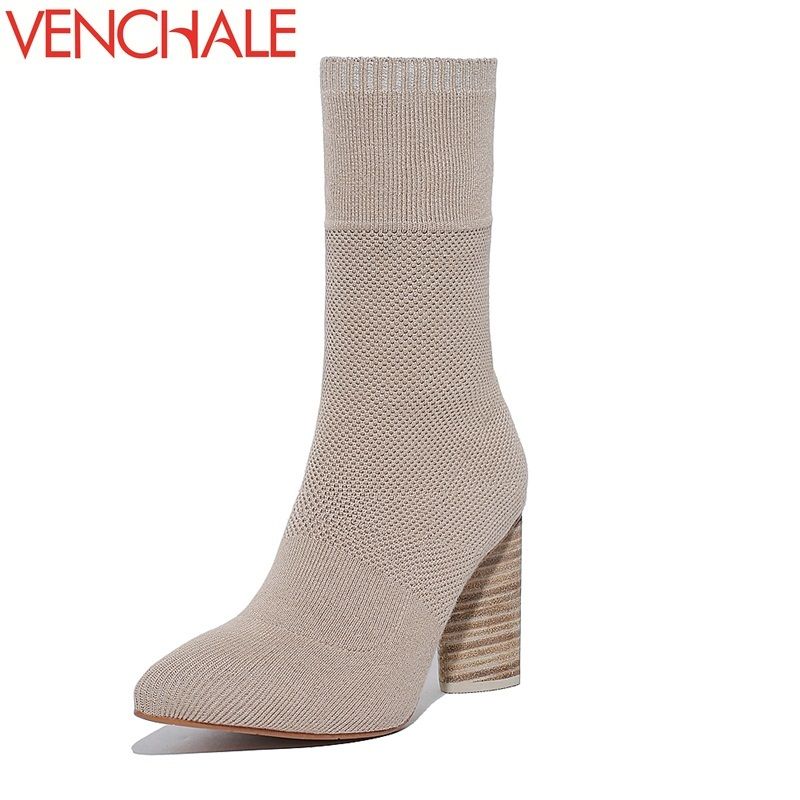 VENCHALE mid-calf boots 2017 special different shoes America and Europe popular individuality pointed toe warm women boots stylish women s mid calf boots with solid color and fringe design