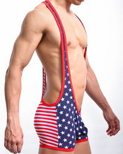 Fashion American Flag Men Sexy Stretch Cotton Suspenders Boxers Underwear Gay Male Conjoined Shorts Pants