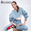 2017 Autumn Thick O Neck Sweaters for Women Elegant Sky Blue Long Sleeve Knitted Sweater Jumper Femme Winter Outwear Crop Top