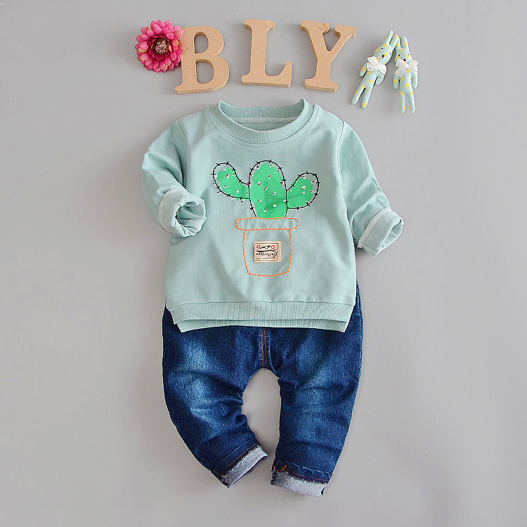 Baby Set Clothes Autumn Boy Baby Girl Long Sleeve T-Shirt + Jeans 2 Pcs Kids Sets Clothing Fashion New 2017 Printed Casual Suit humor bear baby girl clothes set new sequins letter long sleeve t shirt stars skirt 2pcs girl clothing sets kids clothes