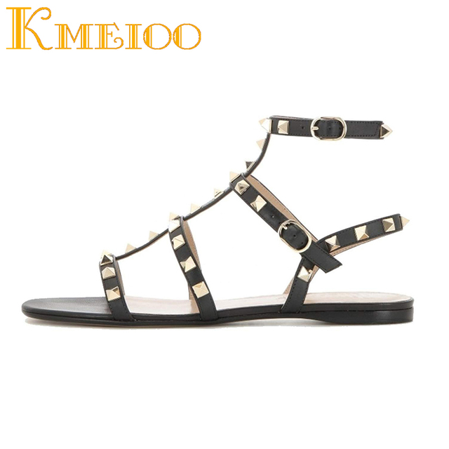 Kmeioo Gladiator For Women Rivets Studded Sandals Cuts-Out Flats For Dress 2018 Fashion Summer Shoes