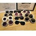 2016 Handmand Горный Хрусталь Sungalsses Мода Очки Женщины Цветочный Круглый Солнцезащитные очки Перл Красочные Пляж Sungalsses